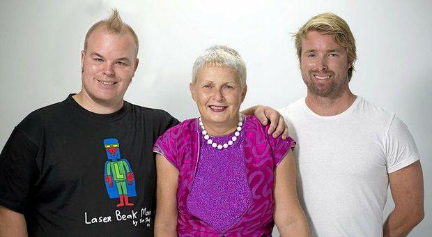 FAMILY AFFAIR: Laser Beak Man creator Tim Sharp with his mum Judy and his brother Sam.