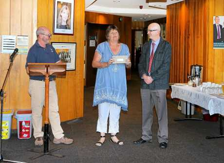 Meredith Dennis from Tweed Palliative Support collecting a cheque for $2000.