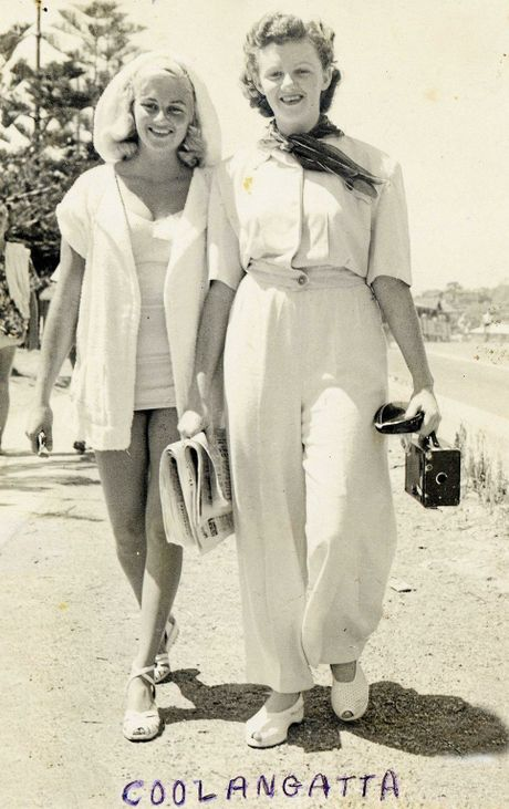 Murwillumbah sisters Fay Clarke and Pat Benstead, (both nee Staunton), loved walking between beaches at Kirra in the 1940s.