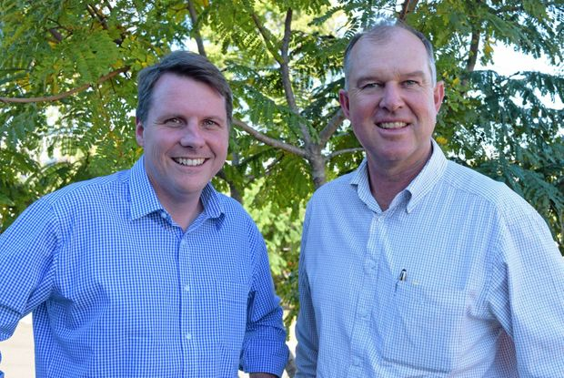 MP for Moggill and Shadow Minister for Environment and Heritage Protection Dr Christian Rowan (left) with MP for Gympie Tony Perrett in Gympie today.