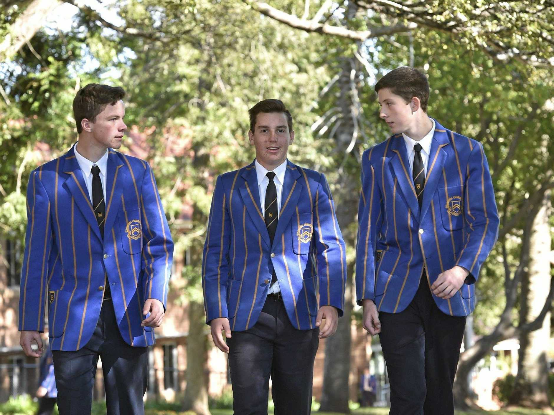 Toowoomba Grammar School students share their opinions about their political aspirations and wishes. Year 11 students, from left; Bradley Evans, Josh Eiser and Sean Sorour . June 9, 2016
