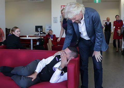 Sleeping Virgin Australia staffer woken by Richard Branson