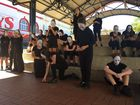 STRONG MESSAGE: Kepnock State High School drama students at a street theatre performance called Is Social Media Making us Anti-social?Photo Jim Alouat / NewsMail