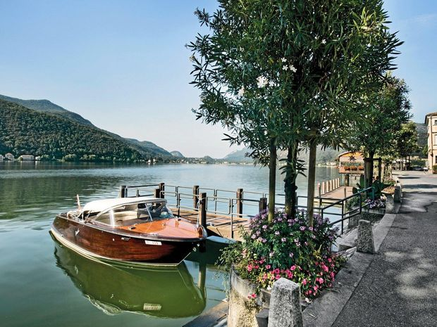 The serene scene that awaits you at Lugano. Although it is in southern Switzerland the people speak Italian.