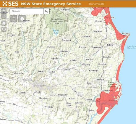 BIG WAVE: A new tsunami evacuation map released by the SES shows areas up to 10m above sea level which need to be evacuated in the event of a tsunami.