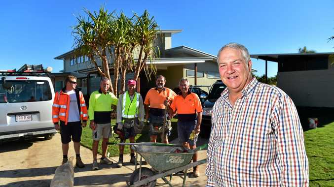 TAKING SHAPE: Resumes have been pouring in to Rivershore Resort at Diddillibah as people clamour for the local jobs on offer at the five-star glamping resort. Owner-director Bernie McGovern (right) is pictured with some locals tradies working on site.