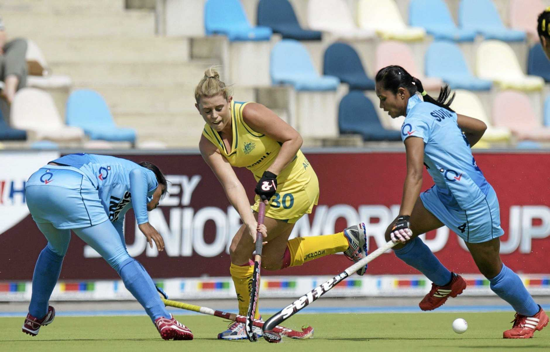 Ipswich hockey player Jordyn Holzberger representing Australia against India at the 2013 Junior World Cup.