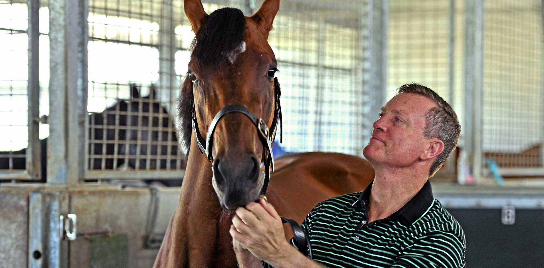 Trainer David Vandyke with Look To the Stars ahead of this weekends race meet at Corbould Park.  Photo: John McCutcheon / Sunshine Coast Daily