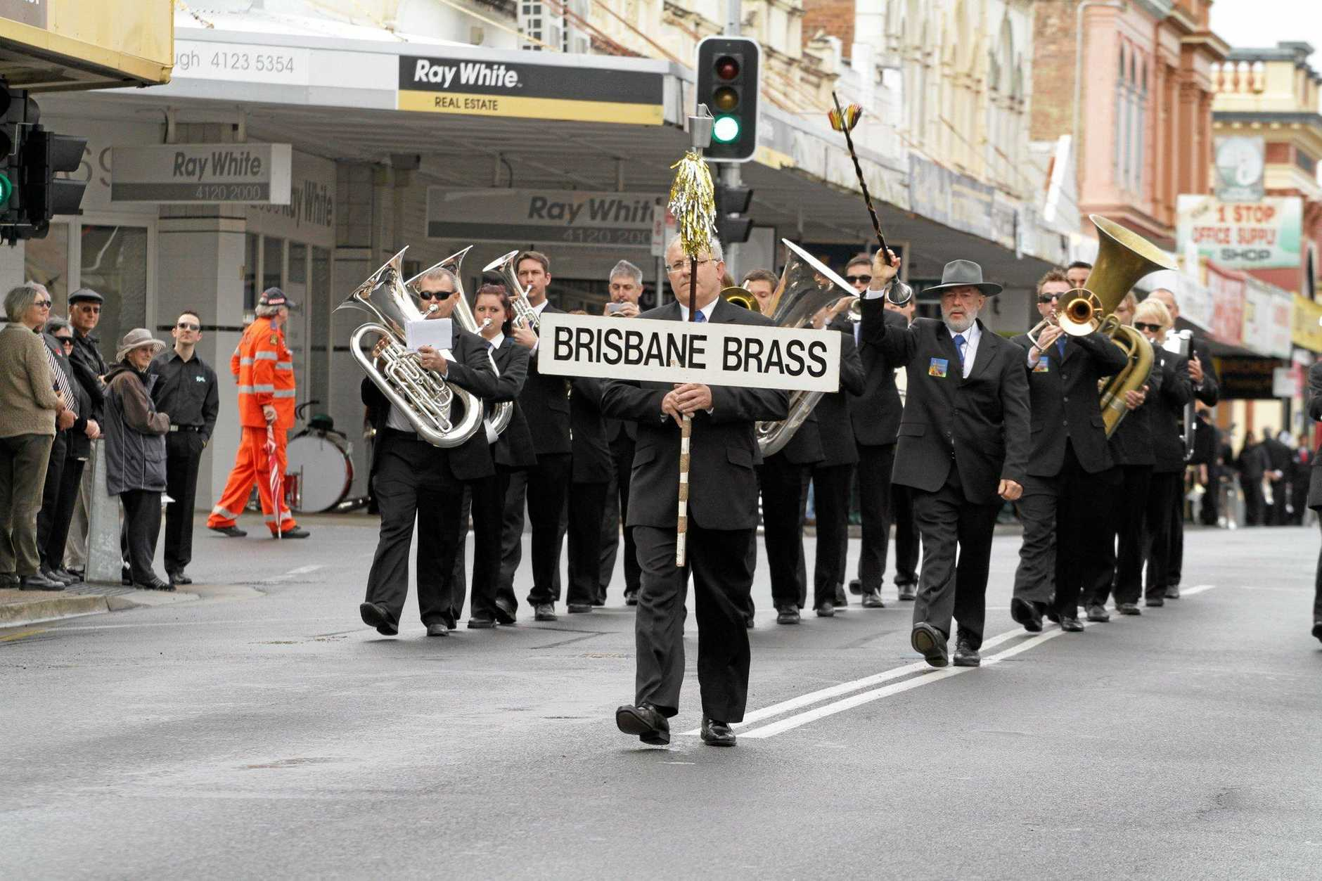 Brisbane Brass Band competing in  Best of Brass in Maryborough on Sunday. Photo: Robyne Cuerel / Fraser Coast Chronicle