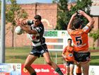 Ipswich Jets Colts winger Billy Jackwitz leaps for the ball against Easts Tigers.