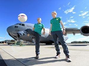 Matildas players visit RAAF Amberley