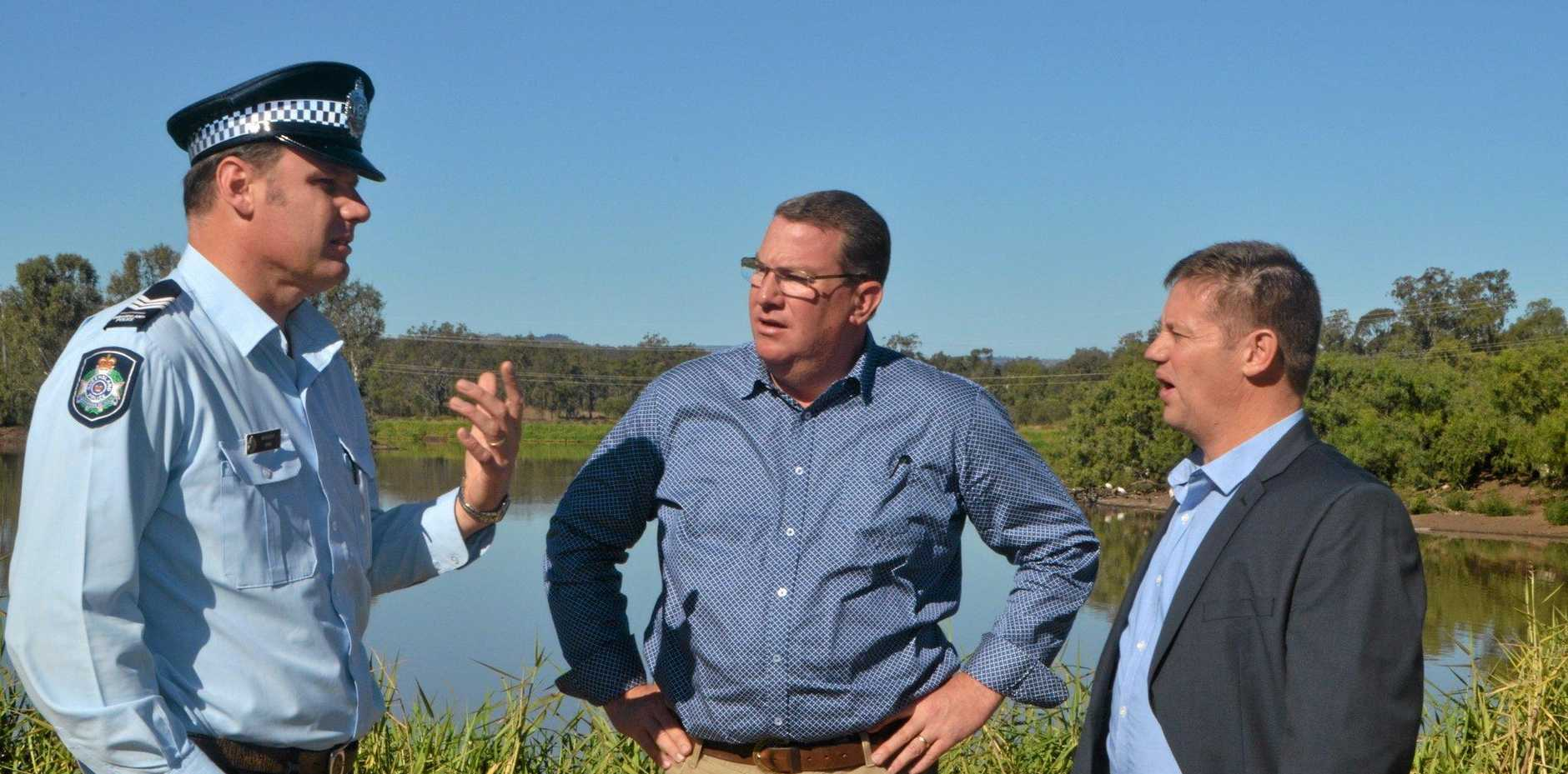 SAFER GATTON: Federal Member for Wright Scott Buchholz and Lockyer Valley Deputy Mayor Jason Cook and Sergeant Tony Harm discuss the new CCTV's which will be installed around Lake Apex.