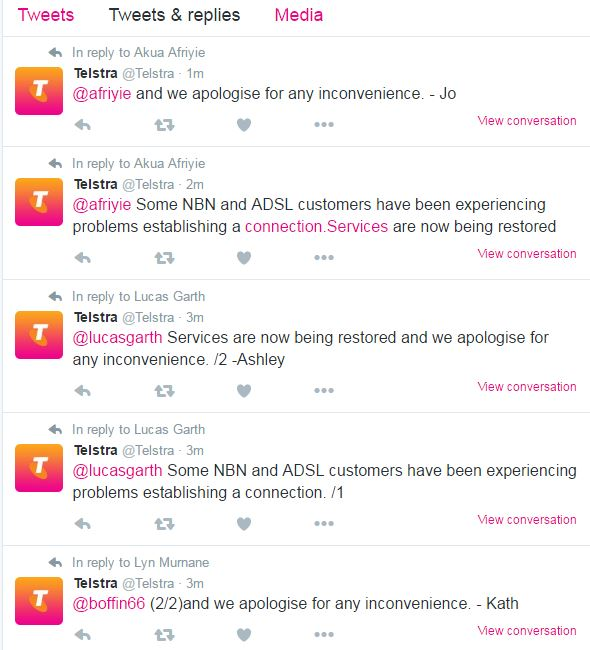 Telstra's replies on Twitter for hours on Saturday were only to customers experiencing an outage.