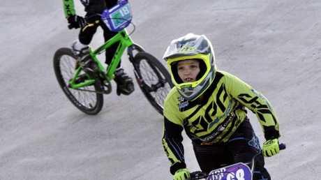 Taylah Hegarty of Rockhampton and Josie Jones of Bundaberg ride in a 10 yr girls' event on Saturday. Photo: Jocelyn Watts / Fraser Coast Chronicle