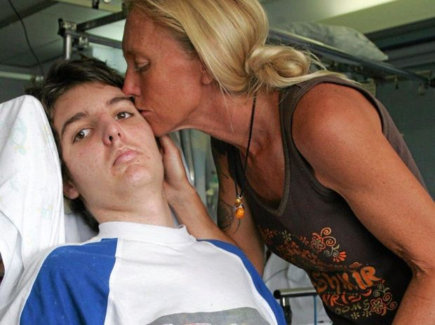 IN THE FIGHT OF HIS LIFE: Caloundra's Sue Merrotsy with her 15-year-old son, Jose Morales, at the Royal Children's Hospital in Brisbane back in 2006.