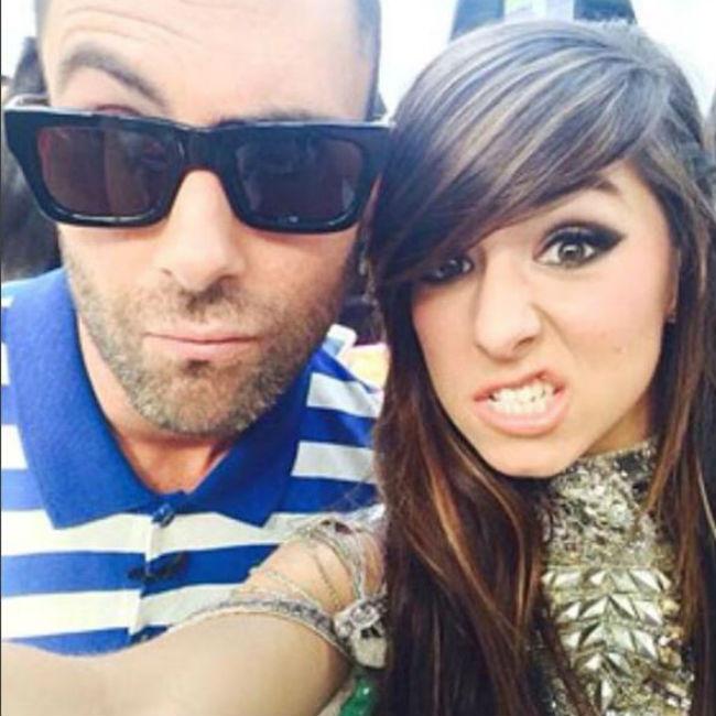 Adam Levine and Christina Grimmie in a social media selfie.