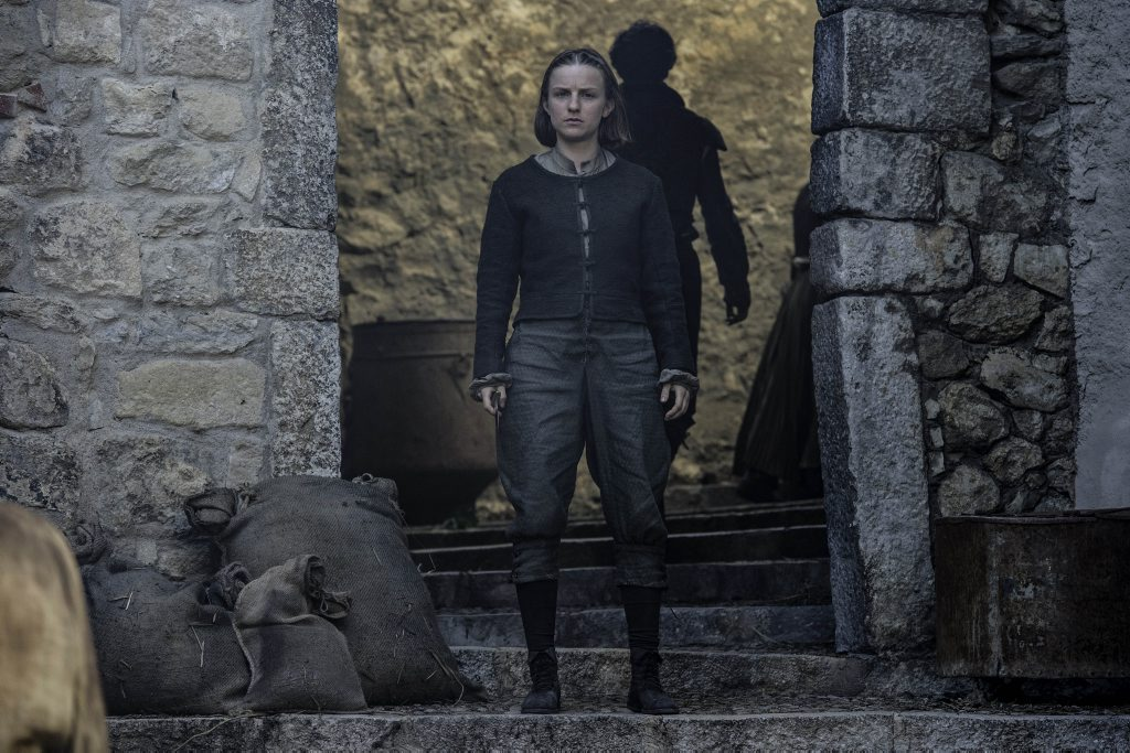 Faye Marsay as Waif in a scene from season six episode eight of Game of Thrones.
