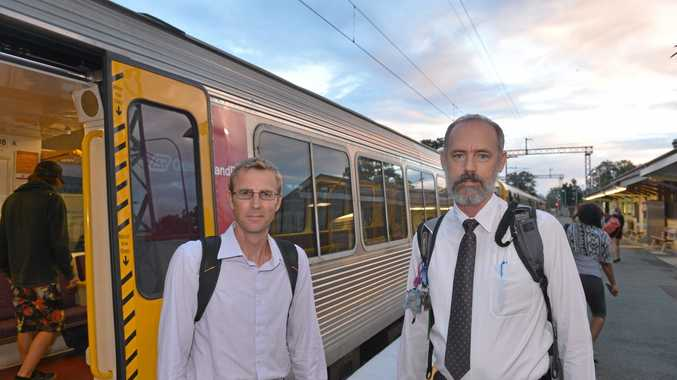 Sunshine Coast commuters Kieron Wallace and Jeff Addison will have the cost of their daily travel slashed. Photo: John McCutcheon / Sunshine Coast Daily