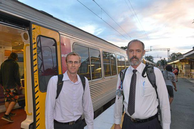 Sunshine Coast commuters Kieron Wallace and Jeff Addison will have the cost of their daily travel slashed. Photo: John McCutcheon / Sunshine Coast Daily