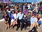 Beef Week Queen 2016 Georgie King with the Governor of NSW David Hurley, his wife Linda Hurley and local children at the Evans Heads Beef Meets Reef festival.