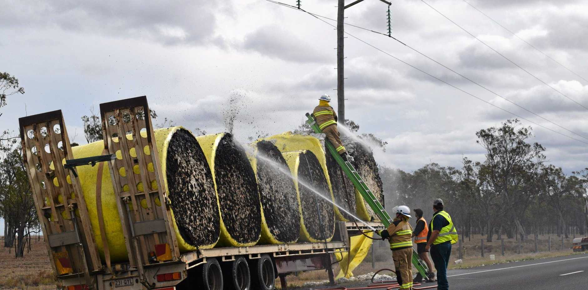 TRUCK FIRE: A truck travelling to the cotton gin caught fire on the Warrego Highway at around 12.50 on Monday.
