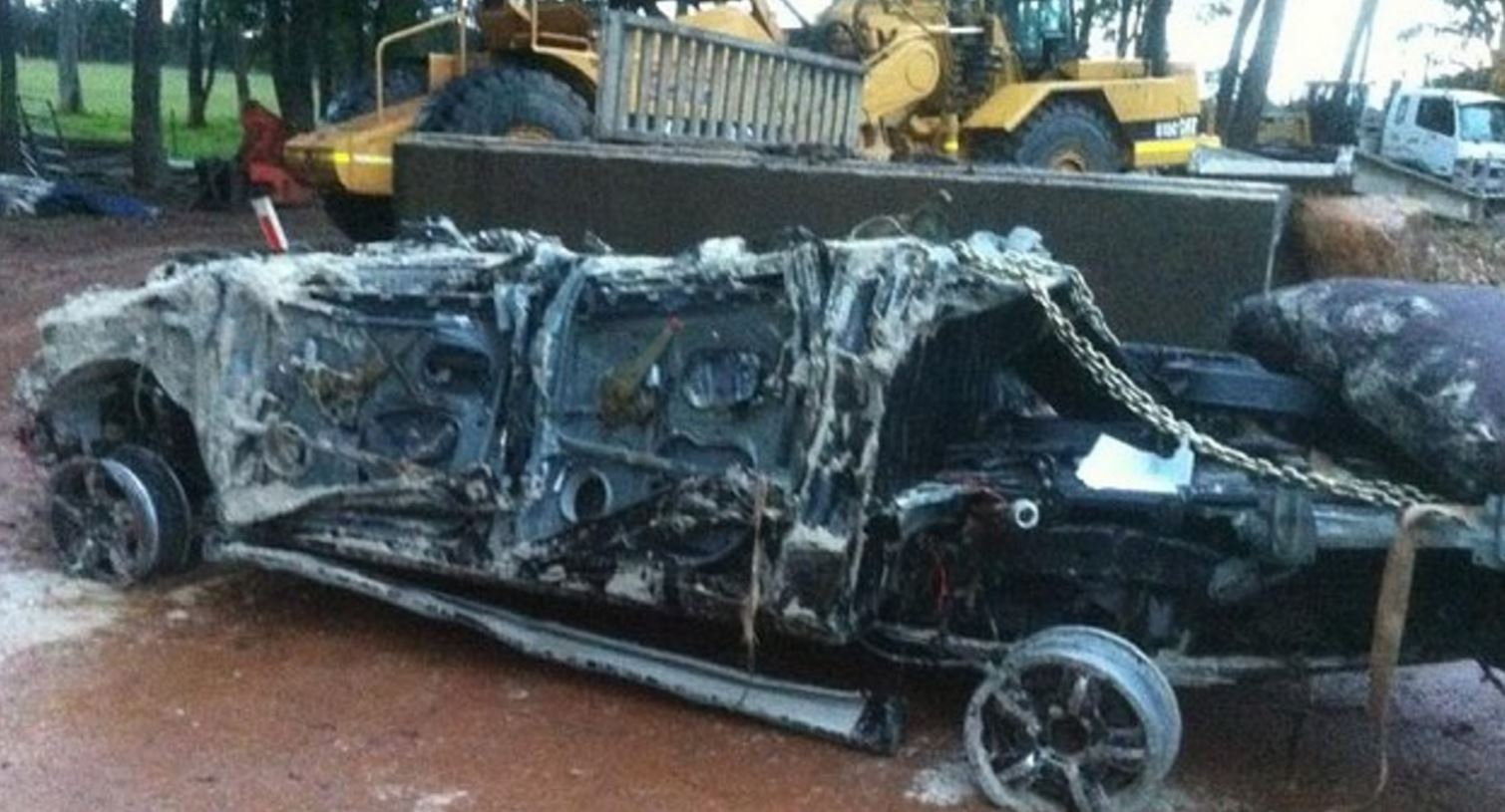 The destroyed body of a four-wheel-drive that was smashed by waves on the West Australian coast.