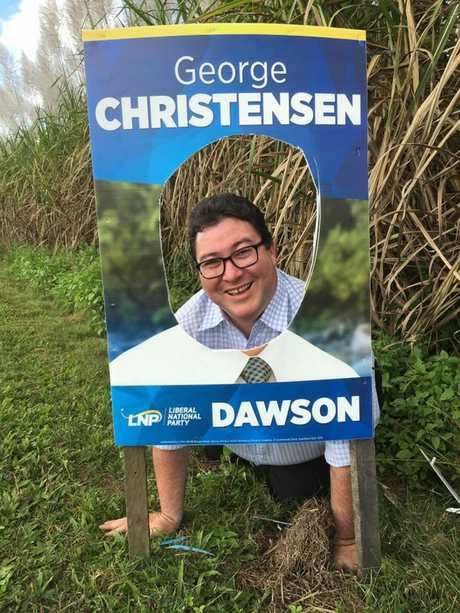 Dawson MP George Christensen's campaign signs have been defaced.