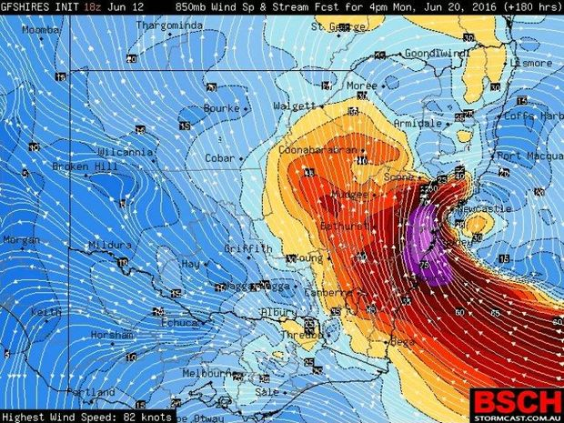 Higgins Storm Chasing has predicted an east coast low.