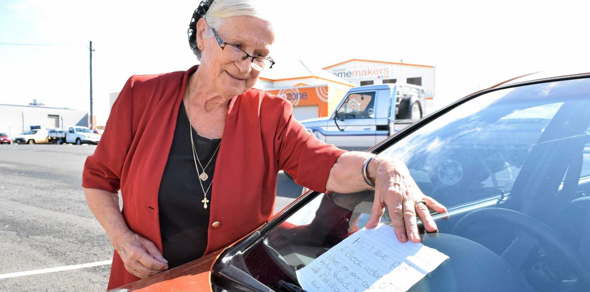KINDNESS OF A STRANGER: Lin Linhert has thanked the Good Samaritan who saved her car.