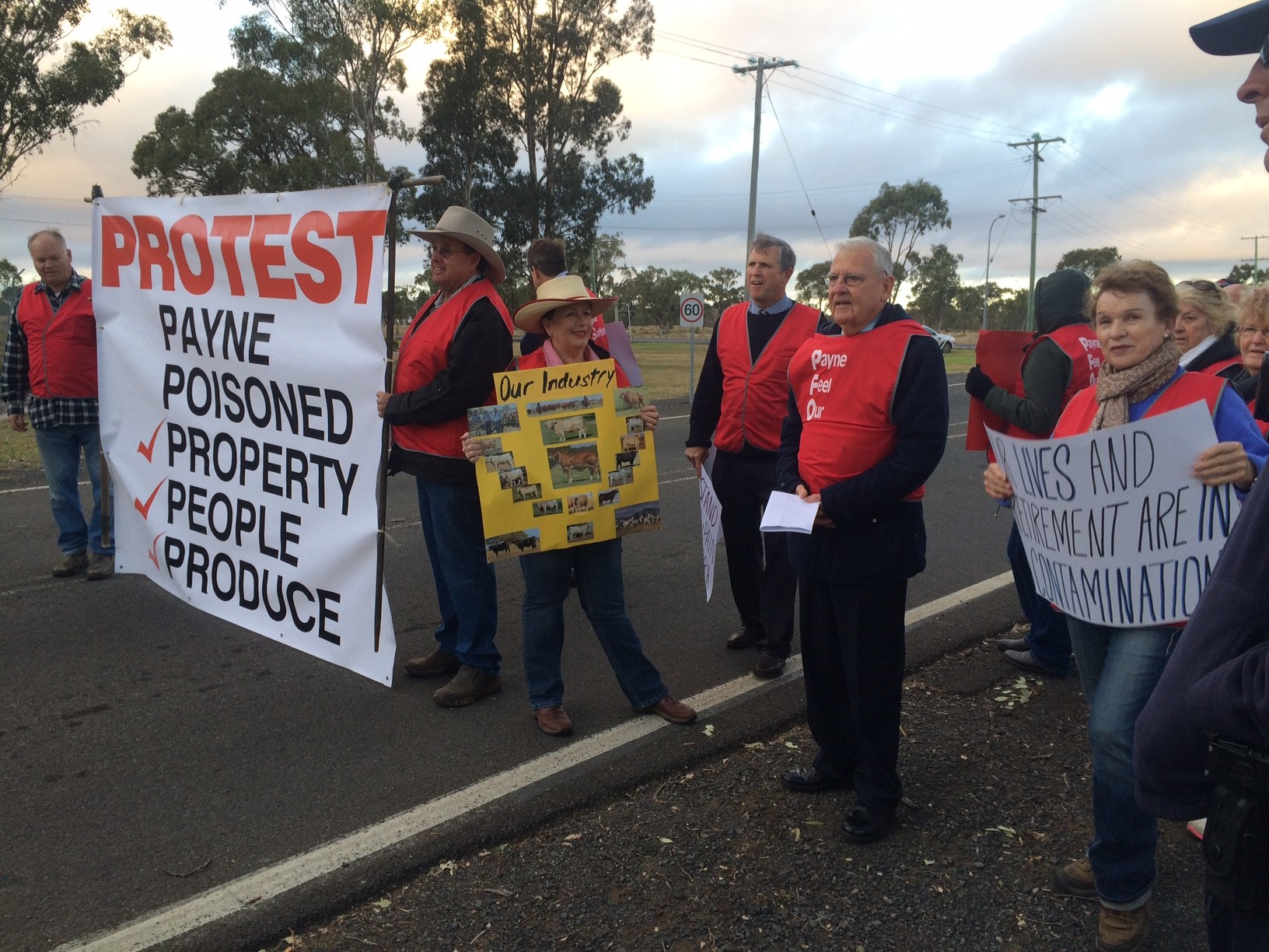Protesters outside the Oakey Army Aviation Centre.