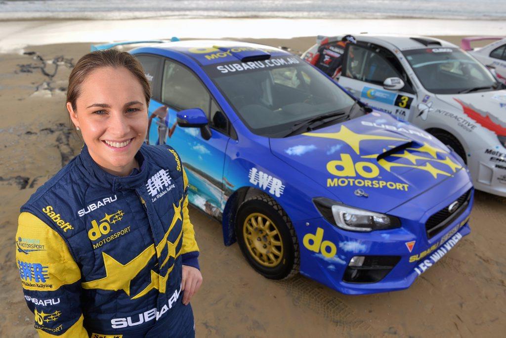 Media launch of International Rally of Queensland at Alex Surf Club, Alexandra Beach. June 15, 2016. Subaru race driver Molly Taylor.