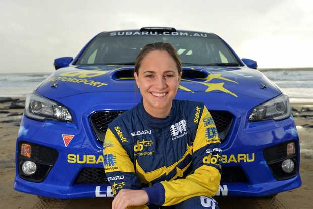Media launch of International Rally of Queensland at Alex Surf Club, Alexandra Beach. June 15, 2016. Subaru race driver Molly Taylor.
