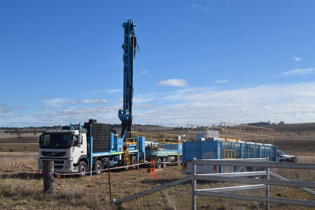 The coal drilling rig in action at Mt Marshall. Photo Jayden Brown / Warwick Daily News