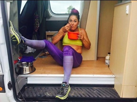 CrossFit World Champion Amanda Allan refuels during her journey.