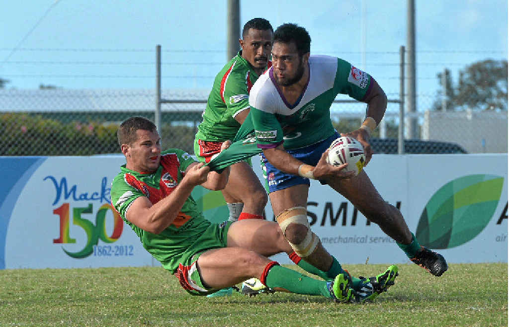 SELECTED: Brahmans' Ivan Petelo looking for an offload in a match for the Whitsunday Brahmans. Photo Tony Martin / Daily Mercury