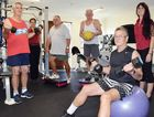 STAY STRONG: From left, Barry Jones, Rolly Connor, Trevor Watts and John Gehle get a workout at Yeppoon's Activate Health with exercise physiologists Nancy Pepper (left) and business owner Kate Sweeney-West (right).