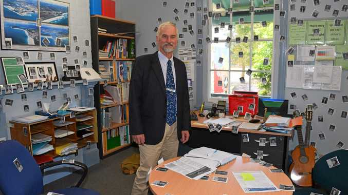 SCHOOL STICK UP: Principal of Byron Bay Public School, Geoff Spargo in his newly decorated office.