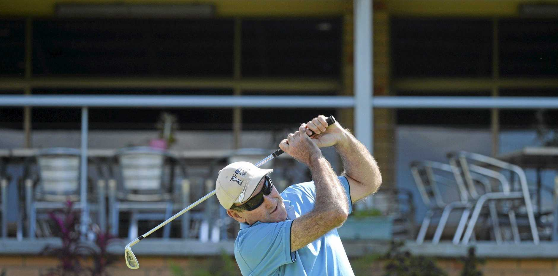 FOLLOW THROUGH: Jim O'Donohue shows off his picture perfect swing during a recent round of 18 holes at the Grafton District Golf Club.