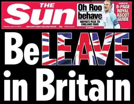 The Sun's front page in support of Britain leaving the European Union.