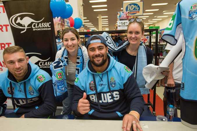 Blues Players Signing at Super A mart Coffs Harbour.Bryce Cartwright, Andrew Fafita with woolgoolga girls Jess Midavaine and Holly Stapleton.. 15 June 2016.