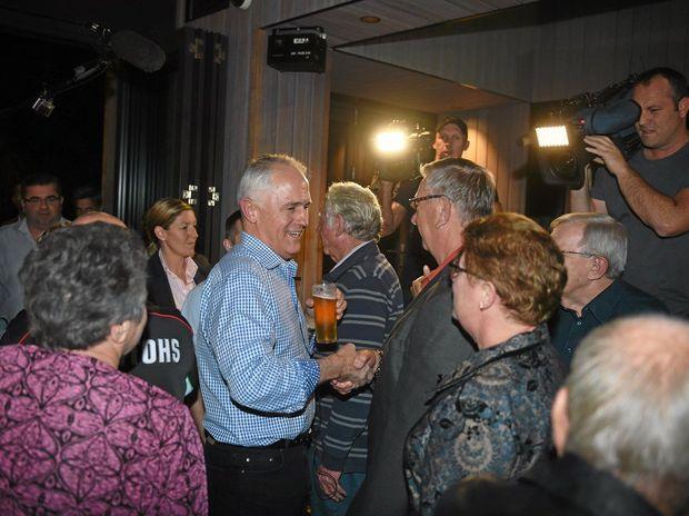 PM Malcolm Turnbull winning votes at Sandstone Point Hotel, Ningi. Photo Vicki Wood / Caboolture News