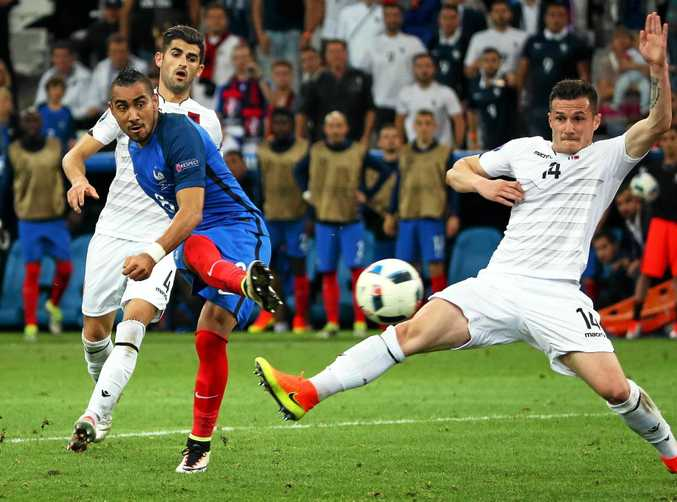 ON TARGET: Dimitri Payet gives France a 2-0 lead in the Euro 2016 match against Albania at the Stade Velodrome in Marseille.
