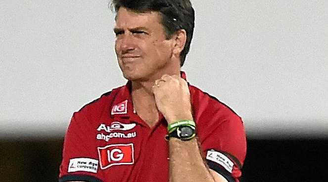HOT SEAT: Melbourne coach Paul Roos during the Round 14 AFL match between the Demons and the West Coast Eagles.