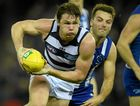 DANGER MAN: Patrick Dangerfield of the Cats dominates during the Round 12 Geelong versus North Melbourne match at Etihad Stadium.