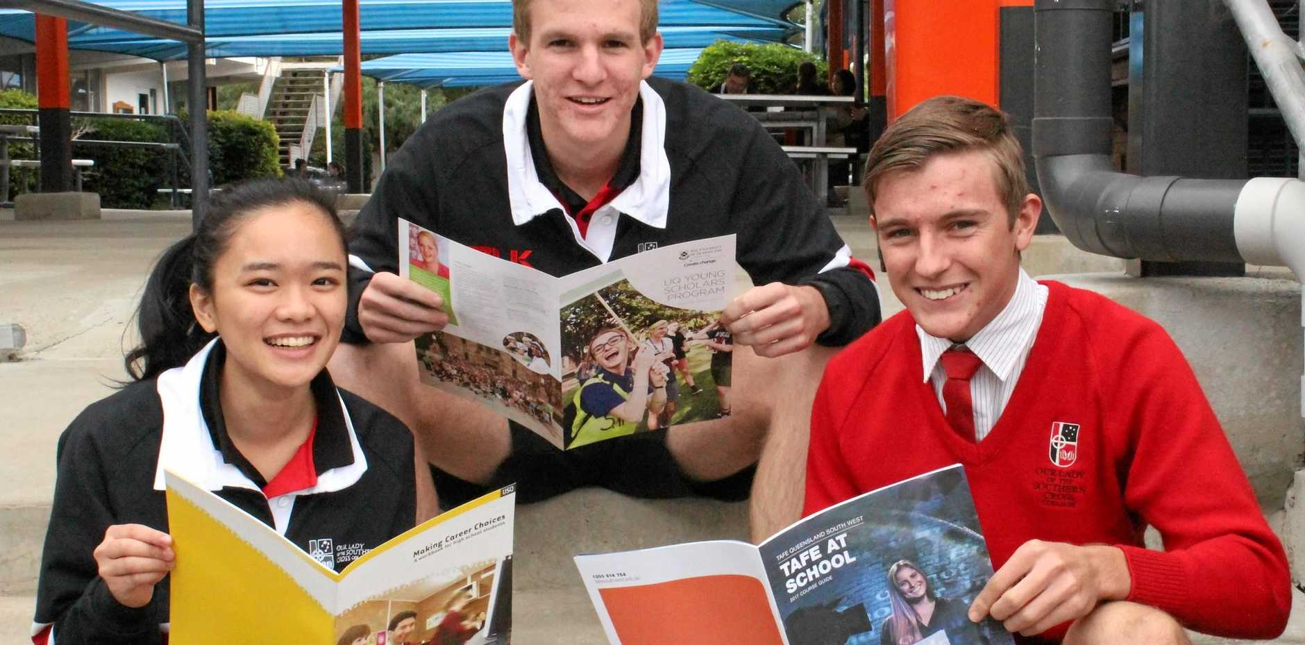 WHERE TO NEXT: College captains Angel Tia and Matthew Cook, and prefect Will Gillespie.