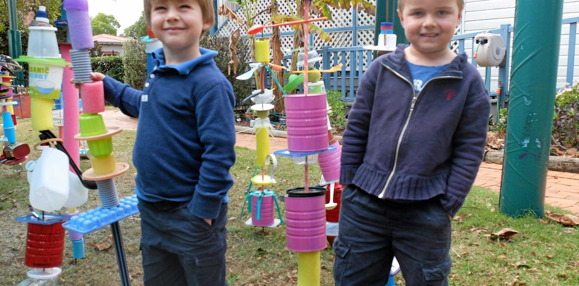 TURNING LIFE INTO ART: Chiselhurst Kindergarten kids Flynn Venter, 4, (left) and Dom Cavanagh, 4, stand proud next to their life-size sculptures.