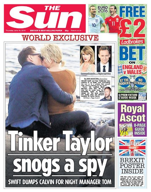World-conquering pop star Taylor Swift has been photographed enjoying a kiss with British hunk and movie star Tom Hiddleston