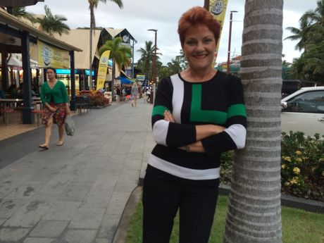 Pauline Hanson on the campaign trail in Airlie Beach