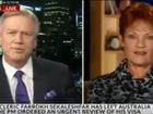 Pauline Hanson appears on the Bolt Report. Screenshot