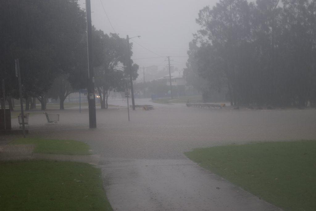 Flooding due to heavy rain near the Lismore shopping square